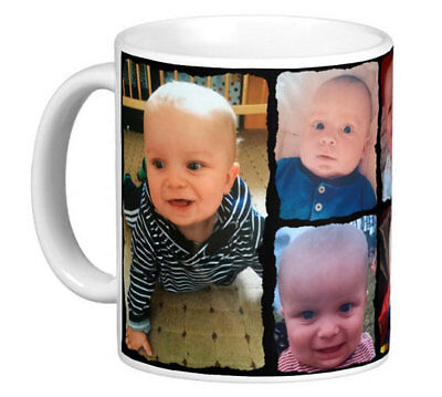 PERSONALISED 6 PHOTO COLLAGE MUG TEA COFFEE CUP NO TEXT Black frame