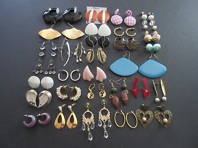 Lot of 30 Pair Vintage - Modern Pierced Earrings Post, Dangle & Hoop (Lot #2)