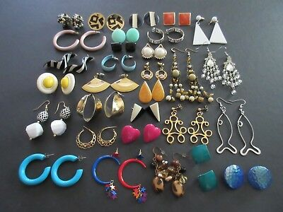 Lot of 30 Pair Vintage to Modern Pierced Earrings Button, Dangle & Hoop (Lot #4)