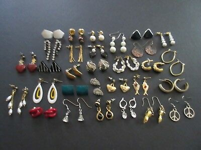 Lot of 30 Pair Vintage to Modern Small Pierced Earrings Dangle, Hoop (Lot #8)