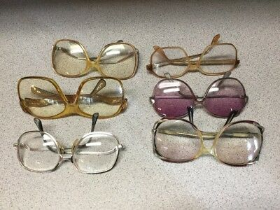 (4) PAIR OF TRUE VINTAGE 1960's/70's/80's WOMEN'S EYEGLASSES FRAMES WITH LENSES