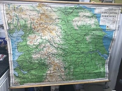 Vintage wall map1967George Philip & Son Of Lancashire And Yorkshire