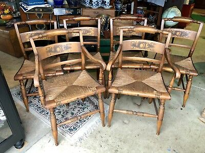 L. Hitchcock Set Of 6 Vintage Crown Back Rush Bottom Dining Chairs 2 Captains