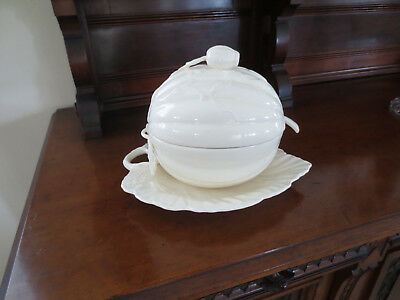 RARE Royal Creamware Melon Soup Tureen with Ladel & attached Leaf Tray English