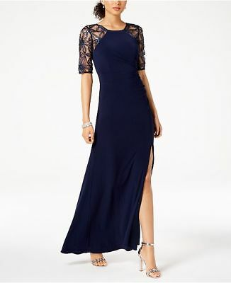$320 Adrianna Papell Women'S Blue Embellished Lace-Contrast Gown Dress Size 8p