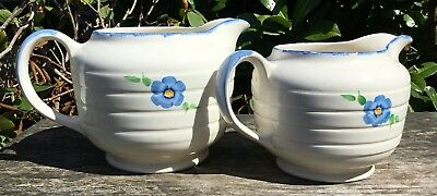 Vintage Retro 1940s Shabby Chic Swinnertons Pottery Jugs With Floral Decoration