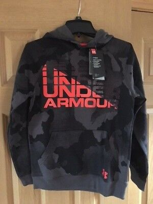 Under Armour Boy's Charcoal Rival Wordmark Hoodie  Size Medium