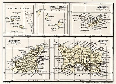 1923 map of England: the Channel Islands antique ready-mounted print SUPERB