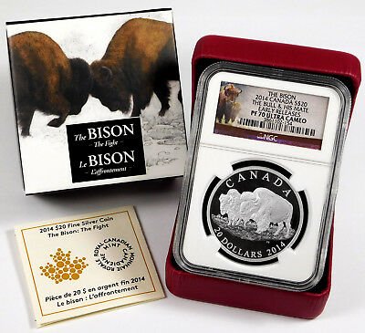 "2014 $20 Canada Bison ""Bull & His Mate"" 1 Oz .999 Silver - NGC PF 70 Ultra Cameo"