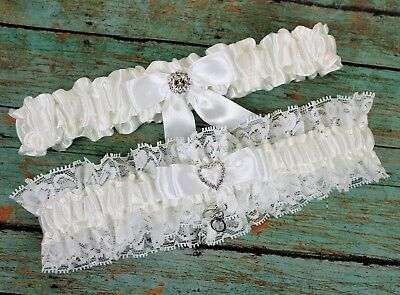 Wedding Garter Set With Handcuffs Charm, Lace And Satin, US SELLER