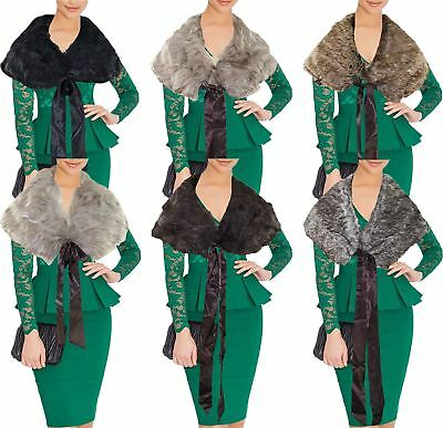 New Womens Ladies Winter Faux Fur Scarf Neck Warmer Wrap Collar Shawl Stole