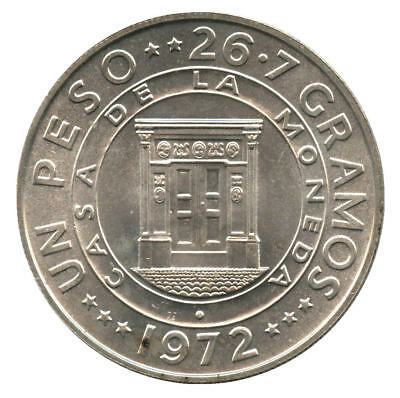 1972 Dominican Republic Silver 1 Peso