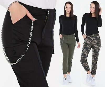 Womens Army Cargo Trousers Military Combat Ladies Camo Casual Bermudes 6-16