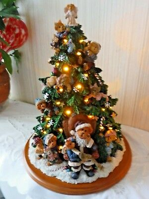 Boyds Bears Cold Cast Porcelain Christmas Tree - SOLID+CLEAN IOB w COA's