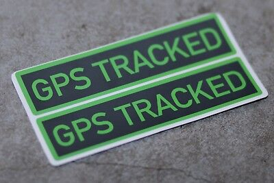 2 X GPS TRACKING STICKERS - perfect for Car, Van, Bike, Window