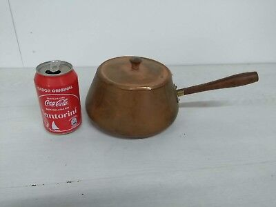 Old copper pot with handle vintage kettle casserole saucepan jam pan from 40´s