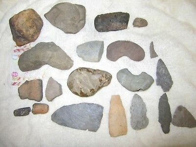 20 Piece's  Vintage Native American Artifact's Axe & Arrowheads