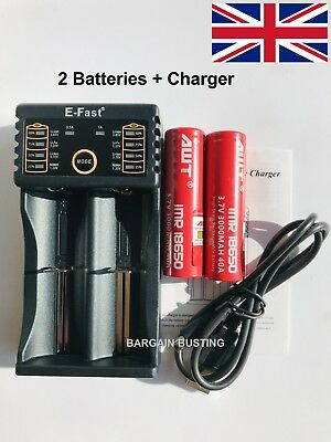 2 x AWT 30Q 3000mAh 18650 Batteries with EFast USB Vape Battery Charger