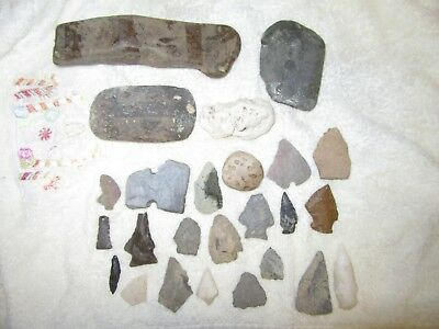 25 Piece's  Vintage Native American Artifact's Axe & Arrowheads