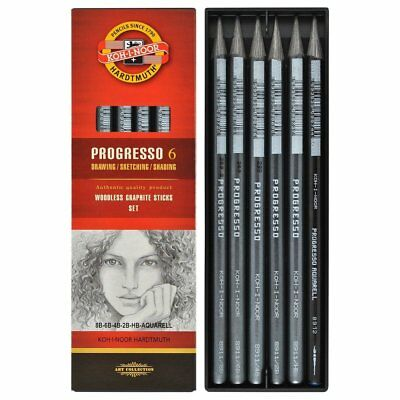 Koh-I-Noor 8915 Woodless Graphite Pencils - Assorted Gradations (Pack of 6)