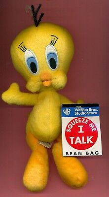 Tweety Squeeze Me I Talk bean bag toy Looney Tunes Warner new with tags  SEE