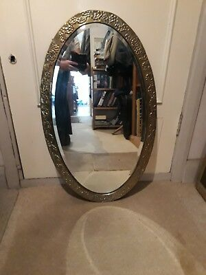 Large Oval Antique Heavy Brass Mirror