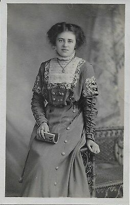 Attractive Young Woman Wearing A Pretty Embroidered Dress (Vintage Rppc)