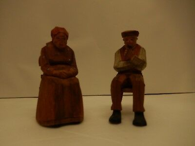 Vintage Pair Of Hand Carved Wood  Old Man & Woman Figures Swiss Made Folk Art
