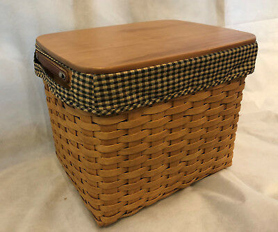 Longaberger Basket 2006 Personal File with Protector+ Lid + Rods + Fabric Liner