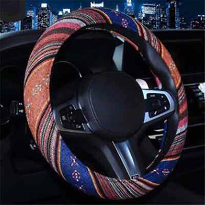 Universal Carbon Fiber Ethnic Style Steering Wheel Cover Auto Car Truck S