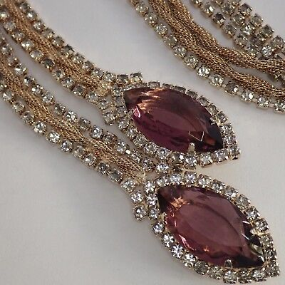 Vintage Unsigned Hobe Gold Plate Multi Mesh Chain Amethyst Rhinestone Necklace