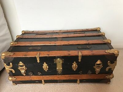 Vintage Antique Slightly Dome-Top Chest Or Trunk, Probably Edwardian