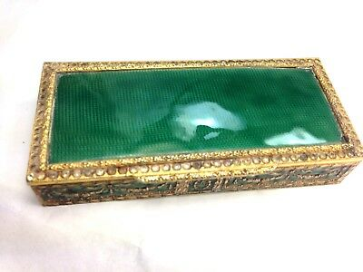 Antique French Green Guilloche/ Gold Gilt & Inlaid With Glass Stones Trinket Box