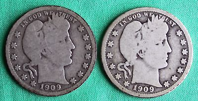 1909 D 1909 Barber Quarters Silver Type 2 Coin Lot TWO Twenty-Five Cents 25c