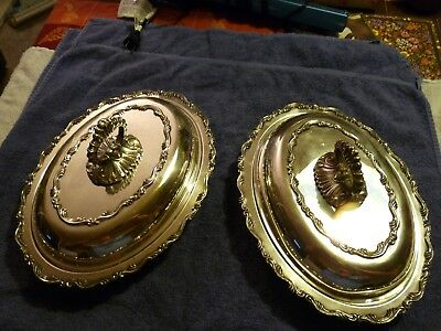 """2 WM. A. Rogers Covered Dishes Vegetable Casserole Tureens 9 1/2"""" Silver Plate"""