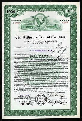 1948 The Baltimore Transit Company - $1000 Debenture