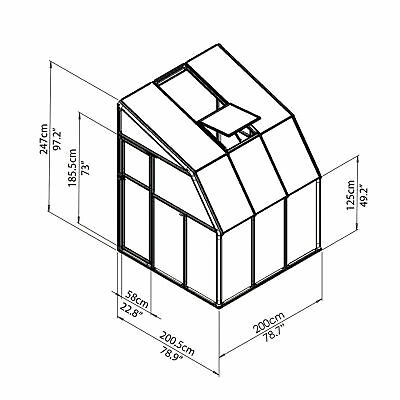 Rion Sun Room 2 Greenhouse - 6ft.L x 6ft.W. Model# HG7506