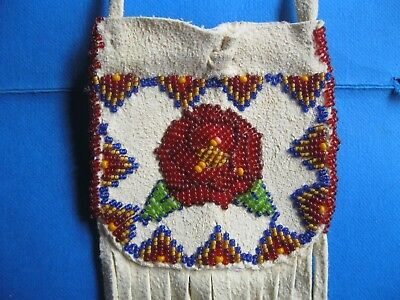 Hand Beaded Medicine Bag By Taos Pueblo Artist Barbara Woods w/Rose Design