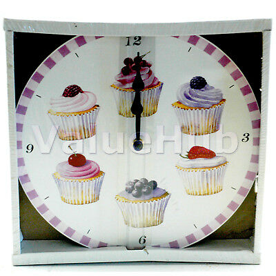 Cupcake  wall clock with different cupcakes boxed UK SELLER