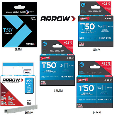 ARROW T50 STAPLES PACKS OF 1250 - 6, 8, 10, 12 & 14mm Fit all T 50 range guns