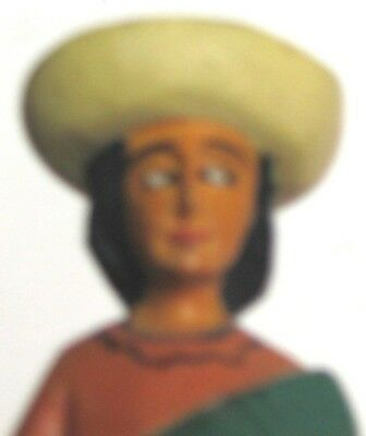 (pgasteelers1)Hand Carved Wooden Spanish Lady wearing Hat & Dog at her foot 7""