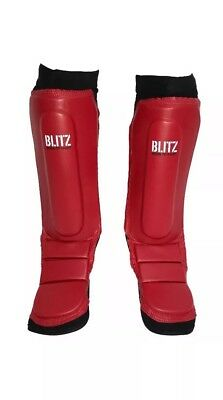 Blitz 'Born to fight' Leather and Neoprene Shin/Instep Guards ~ Size Large