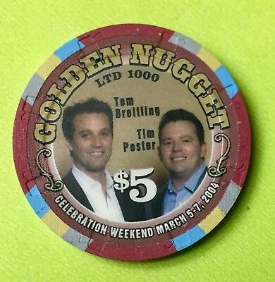 Golden Nugget $5 Breitling & Poster Casino Chip Las Vegas Nv Ltd 1000