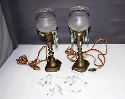 """2 Antique Brass Bradley & Hubbard 13"""" Mantle Table Lamps & Crystals"""