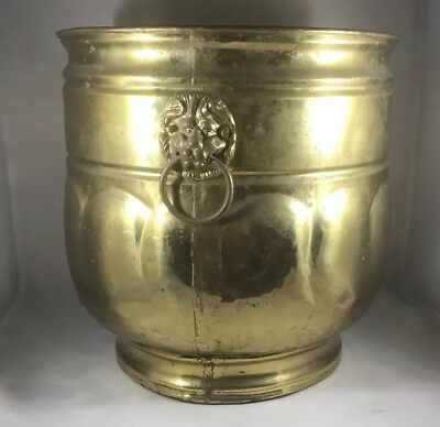 LARGE Vintage Quality BRASS Copper Flower  Planter POT Tub England Lion Heads