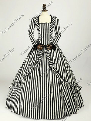 Victorian Civil War Striped Holiday Dress Gown Theater Steampunk Clothing 321 M