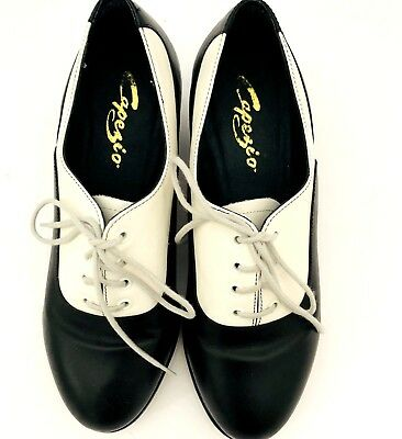 Capezio Gold Series Tap Shoes Leather Oxford 7.5 Wide With Taps Lace Up
