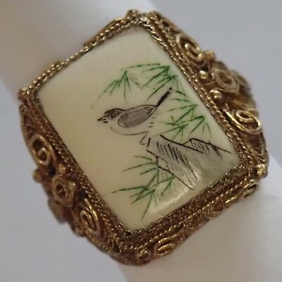 Vintage Chinese Gilt Sterling Silver Filigree Butterfly & Scrimshaw Bird Ring