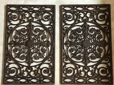 2 Large Vintage Cast Iron Floor Grates Architectural Salvage 28 .75 x 18 in ea