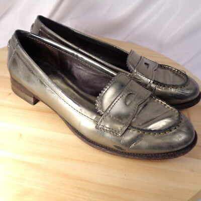 81b39d2665c Tory Burch Leather Penny Loafers Pewter Silver Metallic Logo Size 6.5M  Womens